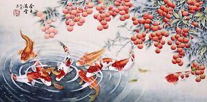 ORIENTAL ASIAN FINE ART CHINESE ANIMAL WATERCOLOR PAINTING-Koi fish carp&Fruits