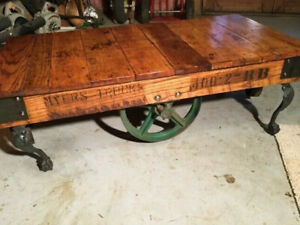 Vintage Industrial Original Myers Trucking Factory Cart~Beautiful Coffee Table
