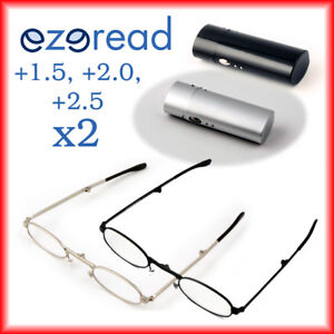 2 x Folding Reading Glasses +1.5, +2.0, +2.5 Silver and Black Metal with case