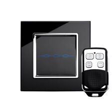RetroTouch 00022 3 Gang Black Glass Remote Control Touch Light Switch with Fob