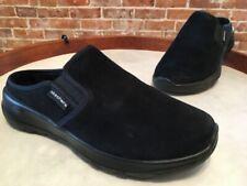 Skechers GoWalk Joy Black Water-Repellant Suede Snuggly Mule Clogs New