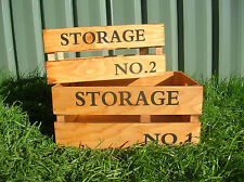 SET OF 2 WOODEN COUNTRY STORAGE CRATE BOX