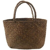 Casual Straw Bag Natural Wicker Tote Bags Women Braided Handbag For Garden L4E1