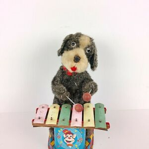 1950'S ALPS JOLLY DOG XYLOPHONE TIN LITHOGRAPHED BATTERY OPERATED TOY JAPAN MADE