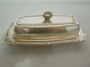"Antique Silver Plated Brass Butter Dish Covered 7 3/4"" x 4 1/4"" and 2 3/4"" Tall"