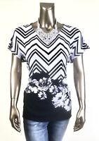 CHICO'S *NWT 3.  (XL) BLACK WHITE CHEVRON-FLORAL DOLMAN SLV TUNIC