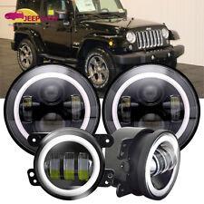 """7"""" LED Halo Ring Headlights + Fog Light Combo Kit For Jeep Wrangler JK 2007-2017"""