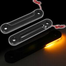 Black LED Flush Fork Turn Signal Brackets For Harley Touring FLH FLHX 98-16 JH1