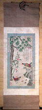 "k181 Chinese hand painting scroll "" double chickens 双吉圖 "" @ Bian Jingzhao 边景昭"