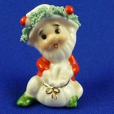 Vintage Mini Napcoware Christmas Elf Sack Figurine Bone China Spaghetti Trim 2""