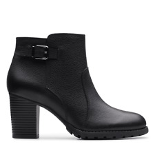 BNIB Clarks Ladies Verona Gleam Black Leather Ankle Boots