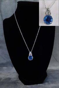Blue Azul Quartz, Topaz Pendant & Platinum/Silver Chain TGW 4.66 cts Necklace