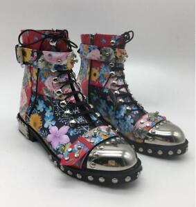 Women Real Cowhide Ankle Boot Metal Stud Floral Punk Rock Party Club Combat Shoe