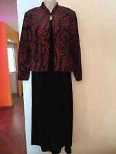Women's Black Sleeveless Maxi Dress W/Mandarin Collar Red Glitter Jacket-Size 14