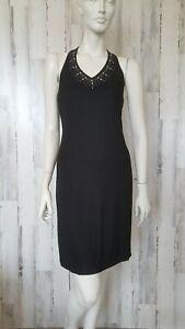 Fashion Bug black pencil sleeveless embellished neckline Dress sz S