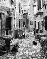 "Old Streets Of Greece Photo - Black and White 10""x8"" #374717"