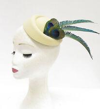 Cream Green Blue Peacock Feather Pillbox Hat Headpiece Hair Fascinator Vtg 2221