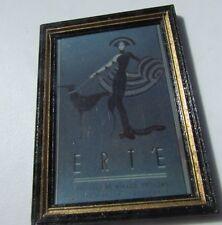 "Dollhouse Miniature Framed Wall Art Erte Symphony in Black Print 2.5"" Vintage"