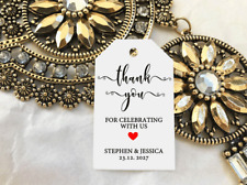10 White Gift Tags Wedding Favour Bomboniere Personalised Thank You Celebrating