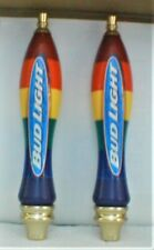 "Bud Light Beer Tap Handle 11"" Rainbow Colors Lgbt Pride Rare Aged Shape Flawless"