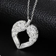 925 Sterling Silver Angel Wings On Hollow Heart Pendant Necklace 46cm Chain UK