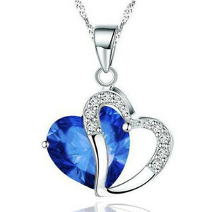 Blue Crystal Heart Love Pendant Chain Necklace Silver Choker for Womens Female