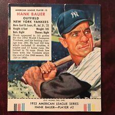 1953 Redman Tobacco Set HANK BAUER with TAB #AL 2 NEW YORK YANKEES - VG