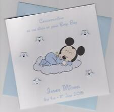 Personalised Handmade Baby Mickey Mouse New Baby Boy Card