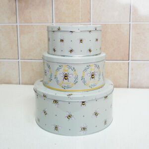Cake Storage Tins Set 3 Round Nesting Airtight Baking Kitchen Gift Food Sweet BE