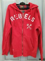 Ringspun mens red colour zip hoody jumper with pockets 80% cotton size L
