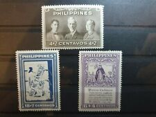 More details for philippines 1949 library rebuilding fund 3 stamp set mnh
