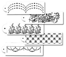 5Piece Cake Flower decorating Stencils for Airbrush Paint Icing Frosting Fondant