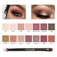 FOCALLURE Eyeshadow Makeup Glitter Eye Shadow Palette Matte with Brush lot QG56