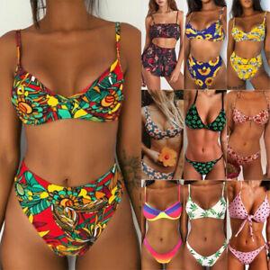 Women Floral Two Pieces Bikini Set Push up Padded Swimwear Beachwear Swimsuit