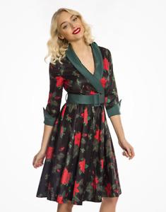 Lindy Bop 'Vivi' Poinsettia Christmas Floral Print Swing Dress BNWT Size 12