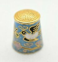 Thimble - Vintage Cloisonne - Brass and Blue Enamel Bird and Flowers