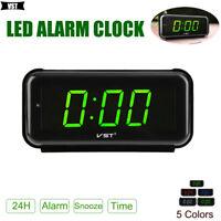 Digital Modern LED Snooze Alarm Clock Timer Display 24-Hour Desk Table Desktop
