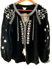 SUNDANCE CATALOG Pilar Embroidered Tunic Black White EXTRA SMALL Orig $138 NWT