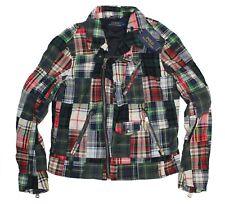 Polo Ralph Lauren Mens Moto Biker Cotton Madras Plaid Patchwork Jacket NWT $295