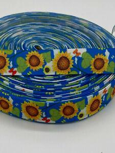 """Sun  Flower Grosgrain-Ribbon  22mm/7/8"""" width  Print-by-the-Metre"""