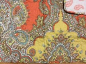 2 Tahari Medallion Paisley Standard Quilt Pillow Shams Coral Yellow Turquoise NW