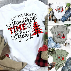 Christmas T-shirt Womens Pullover Blouse Ladies Casual Tee Tops Xmas Tunic Basic