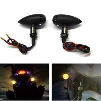 2x Metal Motorcycle Turn Signals Mini Bullet Blinker Amber Indicator Lights 10mm
