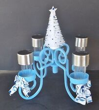 Winter Blue Centerpiece 4 LED Solar-Powered Lights For In/Outdoor Use