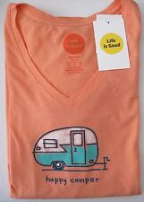 """Life is Good.® Women's Classic Fit """"Happy Camper"""" V-Neck Tee S/S (L)"""