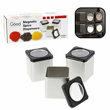 Magnetic Spice Jars - Tins Attach to Most Refrigerator Doors - Shake or Pour Con