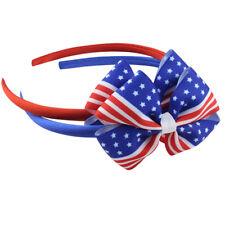 Kids Girls Stars Stripe Print Hairbands Baby Bowknot Headband Headwear Headdress