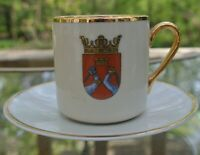 Arabia Gold and White Coat of Arms  Demitasse Cup and Saucer Made in Finland