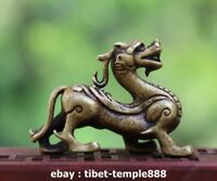5.5 CM China 100% Pure Bronze Foo Dog Lion Dragon Wealth Animal Amulet Sculpture