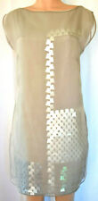 AKRIS GRAY CHEER LAYERDED FABRIC ON TOP OF GEOMETRICAL PLASTIC APPLIQUE DRESS 12